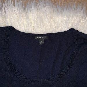 d7f7d058b02 torrid Sweaters - Torrid Navy pointelle knit babydoll sweater 2X
